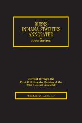 Burns Indiana Statutes Annotated - Insurance: Reinsurance - Discount Medical Card Program (T.27, Articles 6 - 19) cover