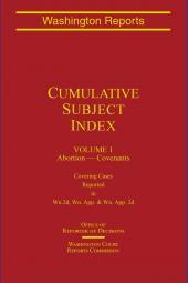 Washington Reports Cumulative Subject Index cover