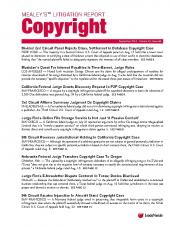 Mealey's Litigation Report: Copyright cover
