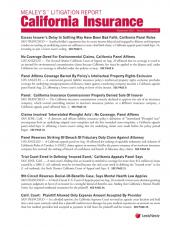 Mealey's Litigation Report: California Insurance cover