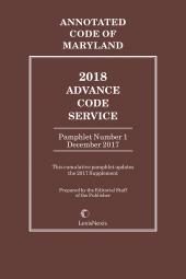 Maryland Advance Code Service cover