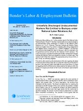 Bender's Labor and Employment Bulletin cover