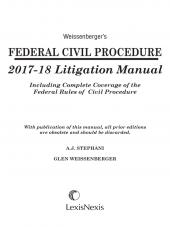 Weissenberger's Federal Civil Procedure 2017-18 Litigation Manual cover