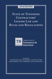 State of Tennessee Contractors' License Law and Rules and Regulations cover