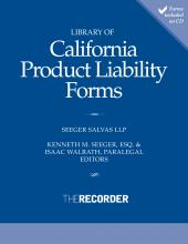 Library of California Product Liability Forms cover