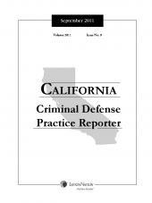 California Criminal Defense Practice Reporter cover