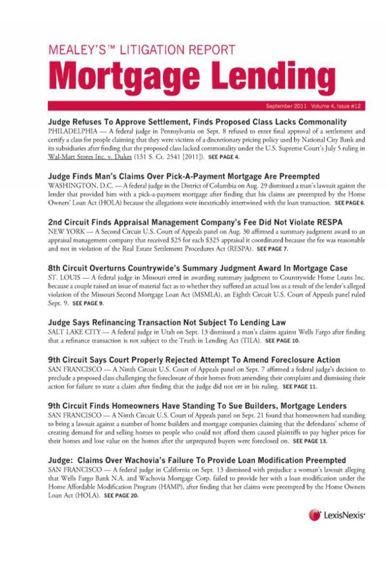 Mealey's Litigation Report: Mortgage Lending | LexisNexis Store