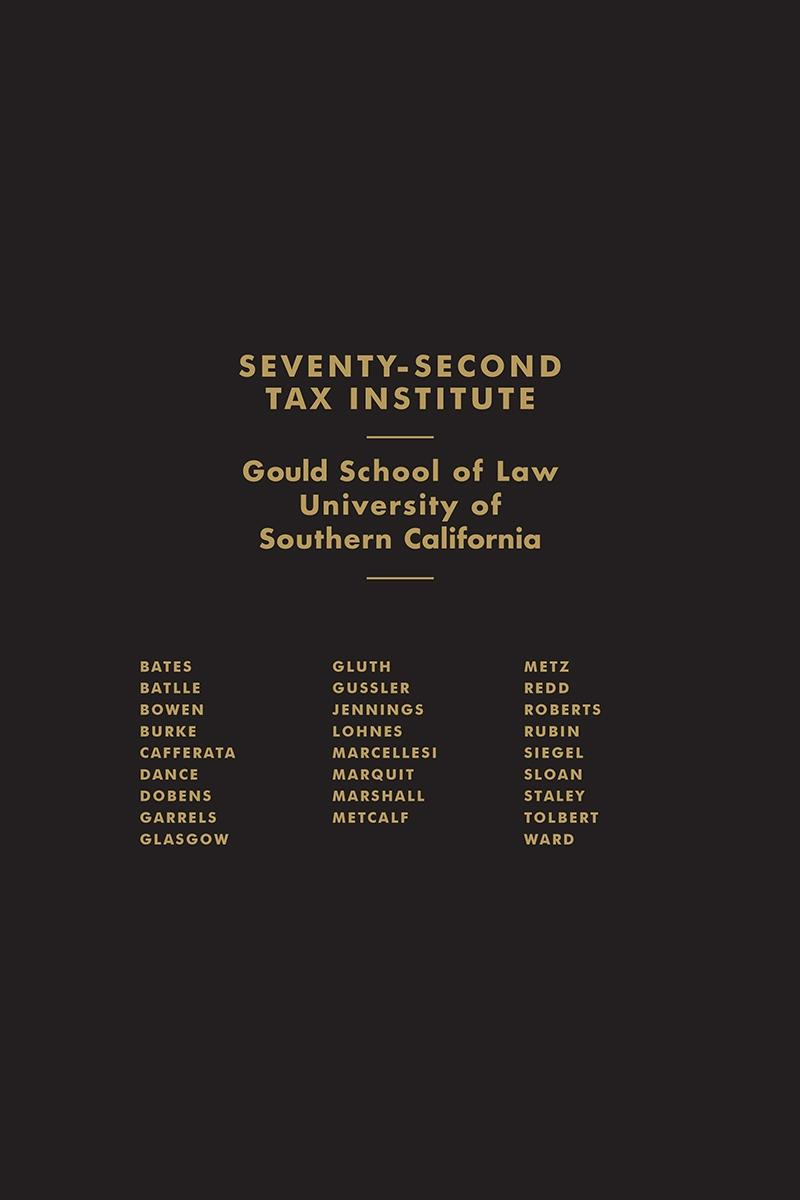 University of Southern California 72nd Institute on Federal Taxation