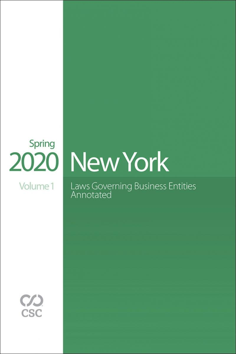 New York Laws Governing Business Entities Annotated